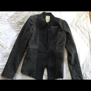 Anthropologie Elevenses Tuxedo Gray Wool Blazer